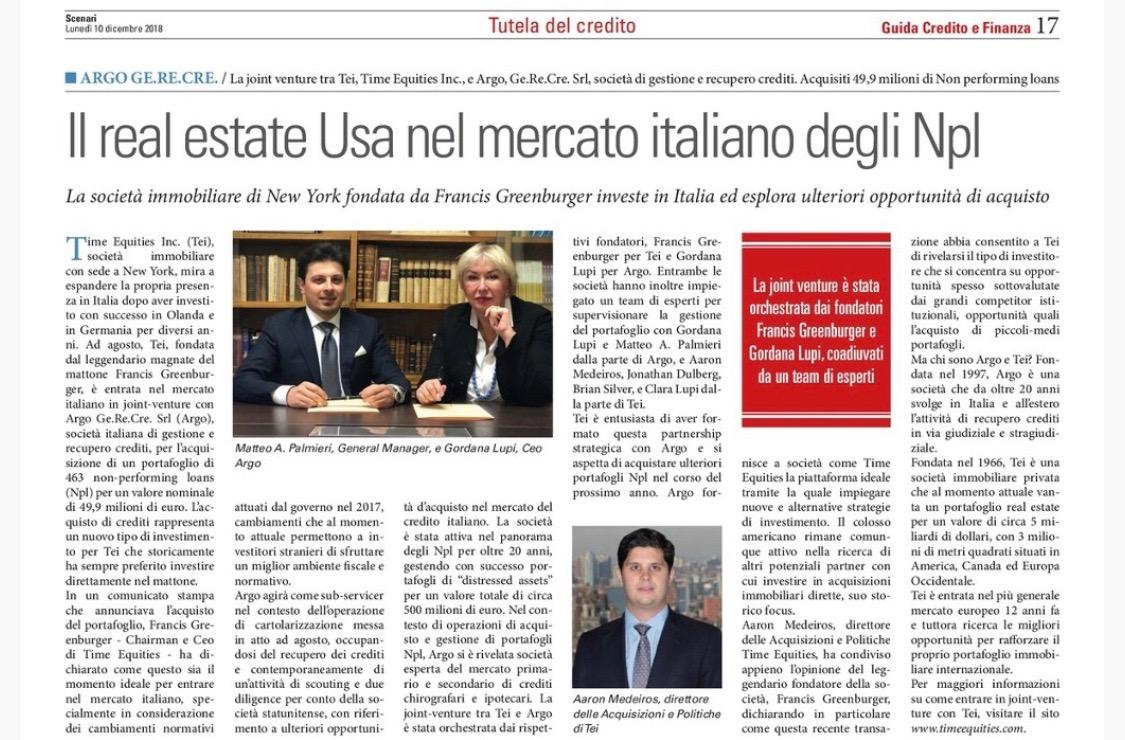 IL REAL ESTATE U.S.A. NEL MERCATO ITALIANO DEGLI NPL